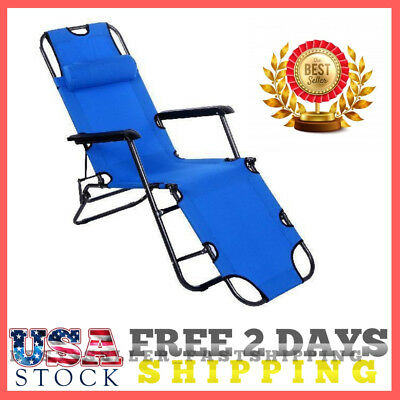 Outdoor Chaise Lounge Portable Folding Chairs Camping Beach (Blue) Adjustable US