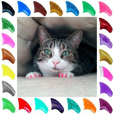 Soft Purrdy Paws Nail Caps for Cat Claws Grooming ~ 6 month supply XTRA ADHESIVE