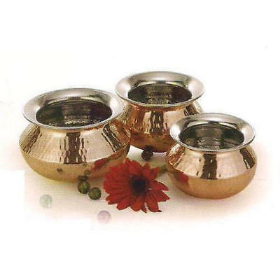 Copper Punjabi Handi - Three sizes  -Copper hammered /Inside Stainless Steel