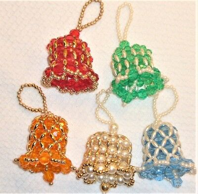 5 Vintage Hand Made Beaded Crocheted Bells Christmas Tree Ornaments