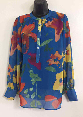 NEW Plus Size 18-28 Butterfly Print Blue White Chiffon Summer Top Blouse Holiday
