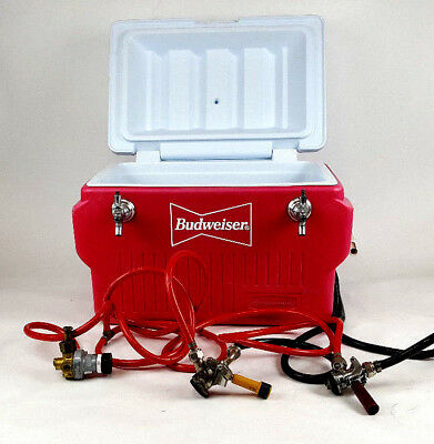 Rubbermaid  Beer Budweiser Jockey Box Tap Keg Double Faucet Draw Cooler