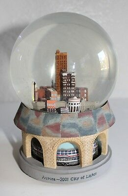 "Aurora 2001 City of Lights Snow Globe 6.5"" Tall"