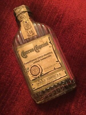 Vintage Old 1930s Miniature CUERVO ESPECIAL Anejo Tequila Flask Nice Label EMPTY