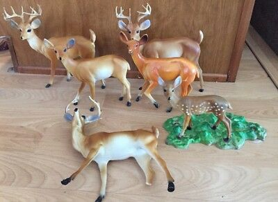 "Lot of 6 Vintage Christmas Reindeer Hard Plastic Figurine - 7.5"" Tall  Family"