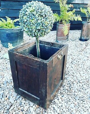 Lovely Antique Oak Planter Log Coal Bin