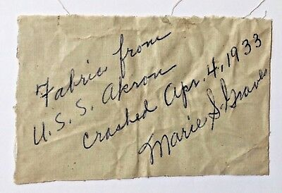 Original Outer Fabric Of Airship Uss Akron Signed By Widow Of Akron Crew Member