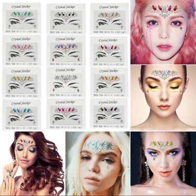 Face Body Glitter Stickers Tattoo Adhesive Rhinestone Gems Jewels Festival Party
