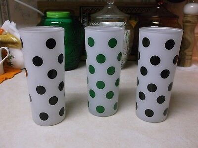 Fire King Frosted Polka Dot Tumblers/Glasses - Two Black, One Green