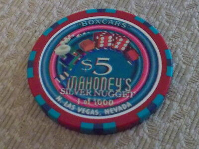 MAHONEY'S SILVER NUGGET CASINO $5 (ltd 1000) hotel gaming chip ~ N.Las Vegas, NV