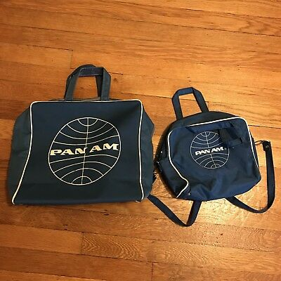 "Vintage 1960s Pan Am Airlines 12"" Blue Tote Travel Flight Bag and Travel Purse"