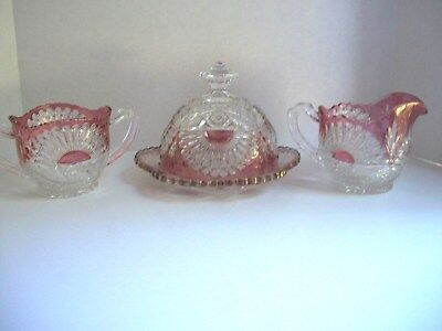 Ruby Red And Clear Glass Sugar Bowl, Creamer, And Butter Dish-Vintage Glassware