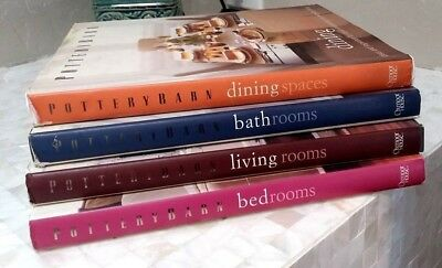 Lot of 4 Pottery Barn Decorating Books Bed, Bath, Dining & Living Rooms