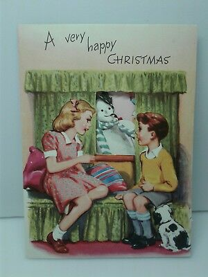 Vintage Mid Century Fold Out Christmas Greeting Card/Kids/Dog/Snowball Fight