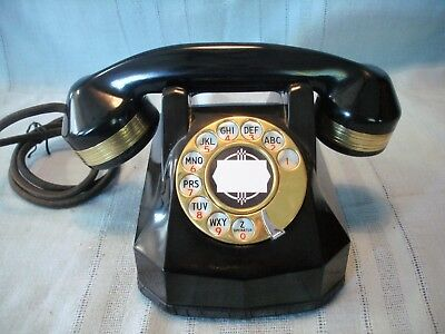 Vintage Automatic Electric A 40 Desk Phone with Brass Dial and Receiver Rings