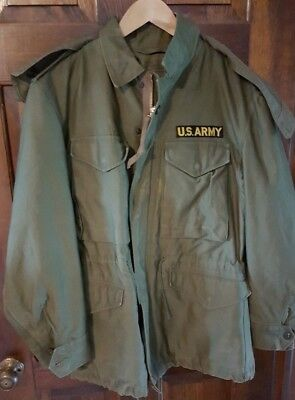 Vtg US Army M-1951 Jacket Shell Field Jacket Olive Small Short w Hood Dated1952