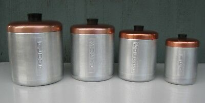 Vintage Kitchen Canister Set Aluminum w/ Copper Tops & Bakelite Knobs Italy NICE