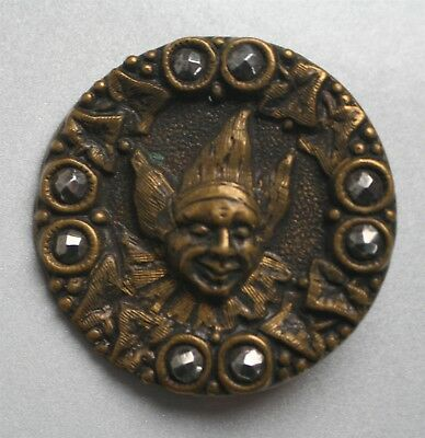Antique Brass Clown Jester Button with Eight Cut Steel Edge Accents 1-3/8 Inch