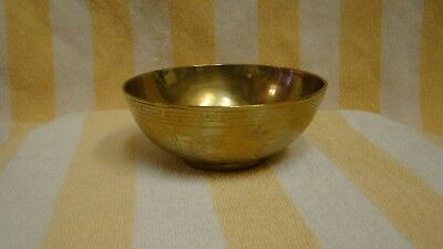 """Antique Chinese Dragon Design Brass Bowl 4 """" Free Shipping!"""