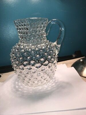 hobbs brockunier Glass Clear Hobnail Applied Handle Pitcher