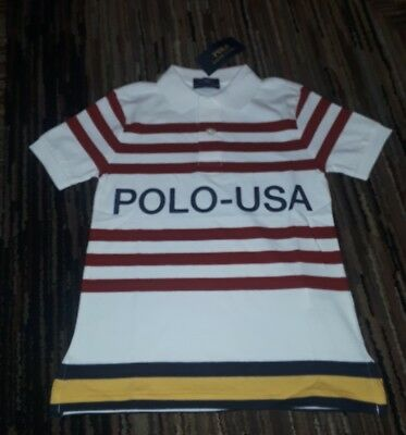 Nwt Polo Ralph Lauren Boys Cp 93 Usa Big Pony Rugby Shirt White Red