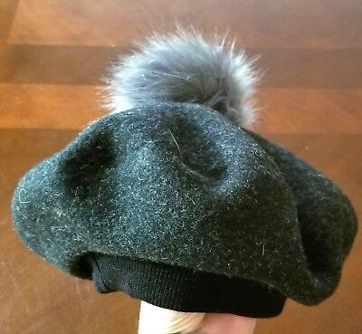 33e866b1a5ddc David   Young Women s 100% Wool Faux Fur Pom Pom Beret Hat One Size New