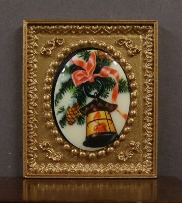 VINTAGE  CAMEO  PICTURE ~ Christmas Bell ~ Dollhouse Miniature ~ 1:12 scale