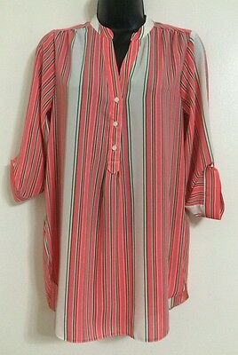 NEW Ex Ladies Coral Multi Striped Collared Button Up Shirt Blouse Top Size 10-18