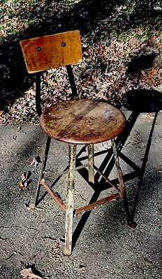 Antique Vintage Steampunk Industrial Machinist Drafting Stool Chair Bar Stool