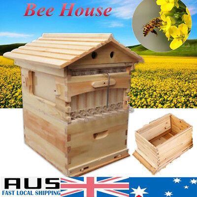 Beehive Beekeeping Wooden Brood House Box Set for 7X Auto Bee Honey Hive Frames