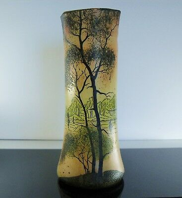 New Art Legras: VASE PAINT TO THE LANDSCAPE FORET early 20th