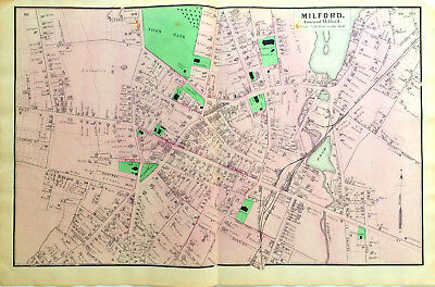 Large Double Page Milford  Mass Original 1870 Map Antique Color Beers Ancestry