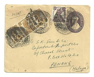 Dr Who India Multi Franked Uprated Stationery Ahmedabad Mills To Malaya 7301