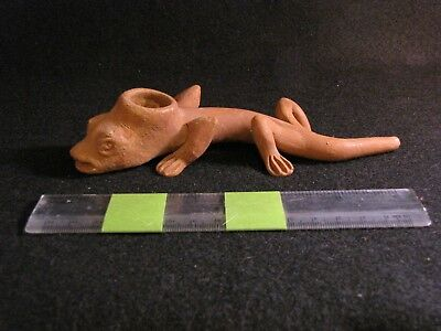 Post Columbian, Pottery, Meso American Lizard Themed Pipe, 20th Century