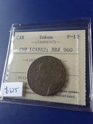 1812 Can Half Penny Token, CH#LC48A2 BR#960, ICCS Graded F-12