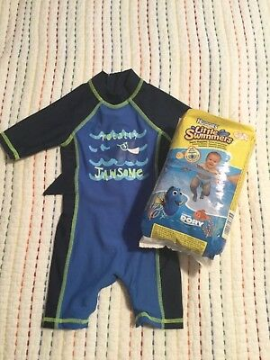 Baby Boy Swimsuit Size 3-6 Months With A Pack Of Huggins Little Swimmers