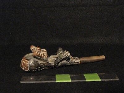 Pre/Post Columbian, Pottery, Functioning Well Detailed Teotihuacan Themed Pipe
