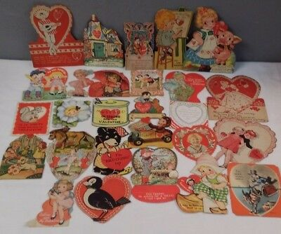 Vintage 1930s Valentine Day Cards Lot of 30
