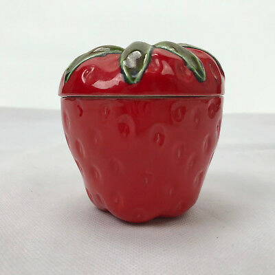 Strawberry Jar Petite Covered Dish Red Green Leaf Lid Candy Relish Trinkets