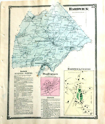 Hardwick Old Furnace Massachusett Original 1870 Map Antique Color Beers Ancestry