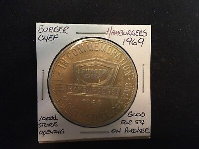 BURGER CHEF 1969 1000th STORE OPENING  GOOD FOR 5 CENTS TOKEN 930