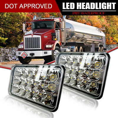 Pair 4X6 Inch LED Headlights Hi/Lo Light Crystal Clear Sealed Beam Headlamp