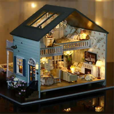 Wooden Doll House Vintage Cottage Kit Wood Dollhouse DIY Girls Queen's Town