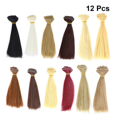 12pcs Fashion Straight Wig Handcraft DIY Synthetic Doll Wigs for Arts and Crafts