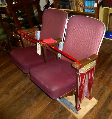 PAIR Antique Theater Opera Seats 2 with ART DECO CAST IRON AISLE ENDS PANELS