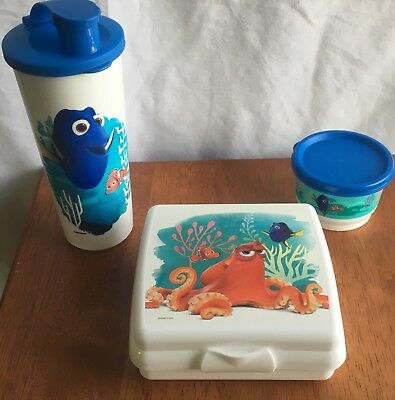 Tupperware Finding Dory 3-Piece Lunch Set Sandwich Keeper Tumbler Snack Cup New