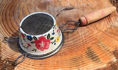 Retro Metal Ekco Floral Tea Strainer Red Painted Wooden Handle USA
