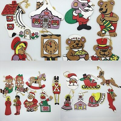 1970s Hand Painted Double Sided Christmas Ornaments