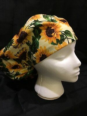 Large Sunflower Medical Bouffant OR Scrub Cap Surgical Surgery Chemo Hat