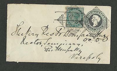 India 1894 Post Stationery Mixed with a Stamp  Cover x 1